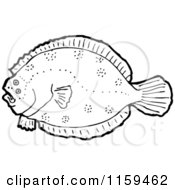 Cartoon Of A Black And White Flounder Fish Royalty Free Vector Illustration by lineartestpilot