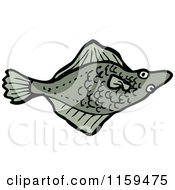 Cartoon Of A Flounder Fish Royalty Free Vector Illustration by lineartestpilot