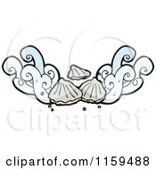 Cartoon Of A Sea Shell And Splash Design Element Royalty Free Vector Illustration by lineartestpilot