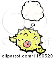 Cartoon Of A Thinking Yellow Blowfish Royalty Free Vector Illustration by lineartestpilot