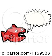 Cartoon Of A Talking Red Fish Royalty Free Vector Illustration