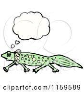Cartoon Of A Thinking Salamander Royalty Free Vector Illustration