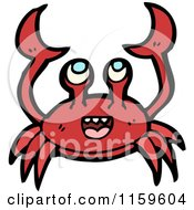 Cartoon Of A Red Crab Royalty Free Vector Illustration