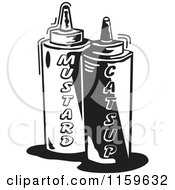 Black And White Mustard And Catsup Condiment Bottles