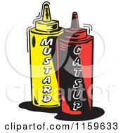 Cartoon Of Mustard And Catsup Condiment Bottles Royalty Free Vector Clipart