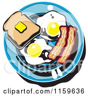 Cartoon Of A Breafast Plate With Toast Eggs And Bacon Royalty Free Vector Clipart