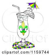 Mardi Gras Cocktail In A Hurrcane Glass With Beads