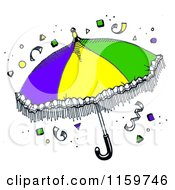 Clipart Of A Mardi Gras Umbrella With Confetti Royalty Free Illustration