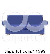 Blue Living Room Sofa Clipart Illustration