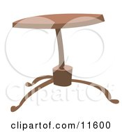 Round Wooden Coffee Table Clipart Illustration