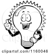 Cartoon Clipart Of A Black And White Happy Bulb With An Idea Vector Outlined Coloring Page by Cory Thoman