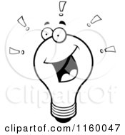 Cartoon Clipart Of A Black And White Bright Lightbulb With Exclamation Points Vector Outlined Coloring Page by Cory Thoman