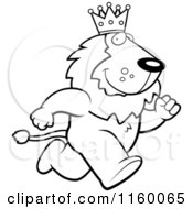 Cartoon Clipart Of A Black And White Running King Lion Vector Outlined Coloring Page