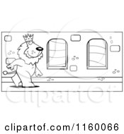 Cartoon Clipart Of A Black And White King Lion Walking Down A Hallway In A Castle Vector Outlined Coloring Page
