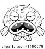 Cartoon Clipart Of A Black And White Grumpy Blowfish Facing Front Vector Outlined Coloring Page