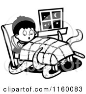 Cartoon Clipart Of A Black And White Tentacled Monster Emerging From Under A Boys Bed Vector Outlined Coloring Page