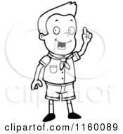 Black And White Scout Boy Standing And Holding Up A Finger