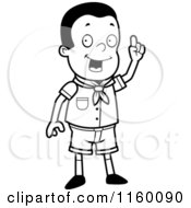 Cartoon Clipart Of A Black And White Creative Boy Scout In Uniform Vector Outlined Coloring Page by Cory Thoman