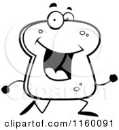 Cartoon Clipart Of A Black And White Happy Bread Character Running Vector Outlined Coloring Page