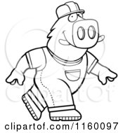 Cartoon Clipart Of A Black And White A Walking Builder Boar Vector Outlined Coloring Page