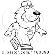 Cartoon Clipart Of A Black And White Builder Lion Walking Vector Outlined Coloring Page