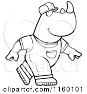 Black And White Construction Worker Rhino In Overalls