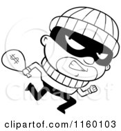 Black And White Running Burglar Looking Back And Carrying A Sack Of Cash