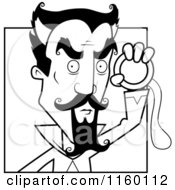 Cartoon Clipart Of A Black And White Male Hypnotist Holding Up A Circle Vector Outlined Coloring Page