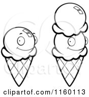 cartoon clipart of black and white waffle ice cream cones vector outlined coloring page by cory