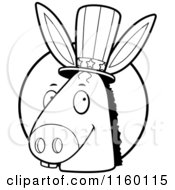Cartoon Clipart Of A Black And White Democratic Donkey Head In Front Of A Circle Vector Outlined Coloring Page