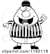 Cartoon Clipart Of A Black And White Plump Referee With An Idea Vector Outlined Coloring Page
