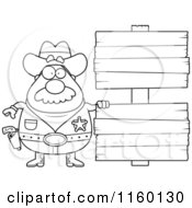 Cartoon Clipart Of A Black And White Chubby Sheriff With Double Wood Signs Vector Outlined Coloring Page