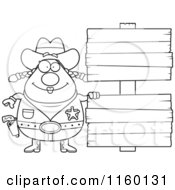 Cartoon Clipart Of A Black And White Chubby Cowgirl By Double Wooden Signs Vector Outlined Coloring Page