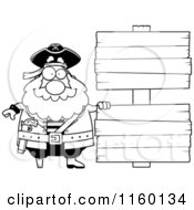 Cartoon Clipart Of A Black And White Chubby Pirate By Double Wooden Signs Vector Outlined Coloring Page