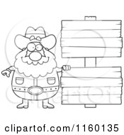 Cartoon Clipart Of A Black And White Plump Prospector By Blank Wood Signs Vector Outlined Coloring Page by Cory Thoman