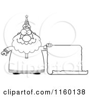 Cartoon Clipart Of A Black And White Chubby Wizard Holding A Blank Scroll Sign Vector Outlined Coloring Page