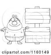 Cartoon Clipart Of A Black And White Pudgy Male Swimmer With A Sign Vector Outlined Coloring Page