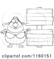 Cartoon Clipart Of A Black And White Pudgy Female Swimmer With A Sign Vector Outlined Coloring Page