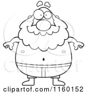 Cartoon Clipart Of A Black And White Pudgy Grandpa Swimmer Vector Outlined Coloring Page