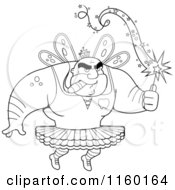 Cartoon Clipart Of A Black And White Strong Tooth Fairy Man Smoking A Cigar Vector Outlined Coloring Page by Cory Thoman