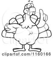 Cartoon Clipart Of A Black And White Turkey Bird With An Idea Vector Outlined Coloring Page by Cory Thoman