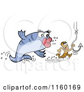 Cartoon Of A Female Fish Chasing A Male Worm With A Hook Royalty Free Vector Clipart by LaffToon