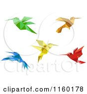 Clipart Of Origami Hummingbirds Royalty Free Vector Illustration by Vector Tradition SM