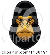 Clipart Of A Black Gorilla Face Royalty Free Vector Illustration by Vector Tradition SM