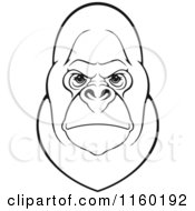 Clipart Of A Black And White Gorilla Face Royalty Free Vector Illustration by Vector Tradition SM