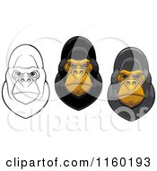 Clipart Of Gorilla Facees Royalty Free Vector Illustration by Vector Tradition SM