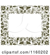 Clipart Of A Frame Of Ornate Vines On White 2 Royalty Free Vector Illustration