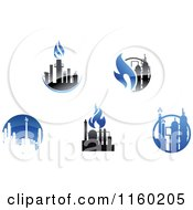 Clipart Of Gas Refinery Logos Royalty Free Vector Illustration