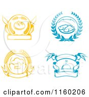 Clipart Of Bread Seafood Chef Hat And Catering Logos Royalty Free Vector Illustration