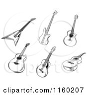 Clipart Of Black And White Acoustic And Electric Guitars Royalty Free Vector Illustration